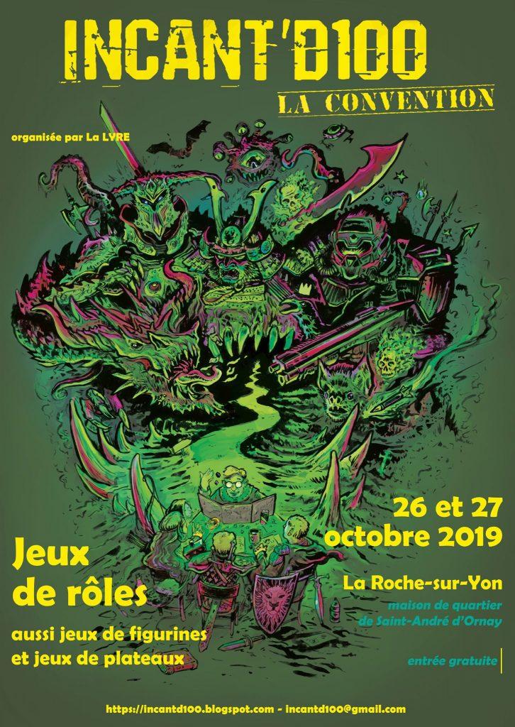 la version verte de l'affiche de la convention de jeu de rôles à la roche sur yon